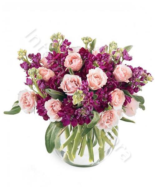 bouquet-di-roselline-rosa-e-lillà