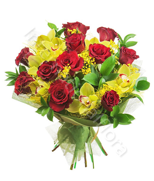 bouqet-rose-rosse-orchidee-gialle-mimosa