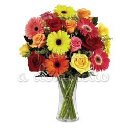 bouquet_rose_gerbere_colorate