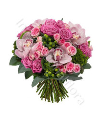 bouquet-di-rose-roselline-orchidee-rosa