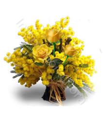 tre-rose-gialle-con-mimosa